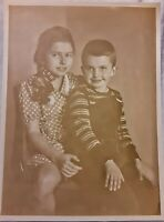 Vintage Old 1930's Photo of Cute Little Boy & Girl Brother Sister Dalton Kids
