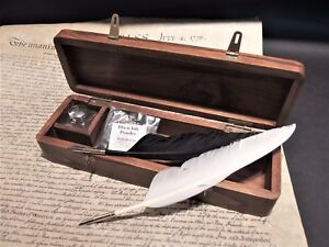 Antique Vintage Style Wood Writing Box Desk Set w Inkwell 2 Feather Dip Pen Ink