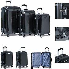 "New ""Dejuno"" 3 Piece Polycarbonate HardShell Spinner Suitcases Luggage set-Black"