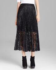 NEW✿ Free People 4 Skirt Maxi Long NWT $168 Retail Pretty Pleats Black Lace