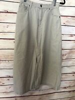 Eddie Bauer Size 4 Petite Skirt Long Modest Khaki Beige Cotton Casual Comfort