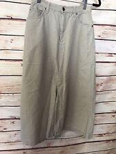 Eddie Bauer Size 4 Petite Skirt Long Modest Khaki Beige Cotton 9647