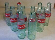 COCA COLA EMPTY BOTTLES - SET OF 10 - 2010 LIGHT GREEN GLASS 8OZ COLLECTIBLE