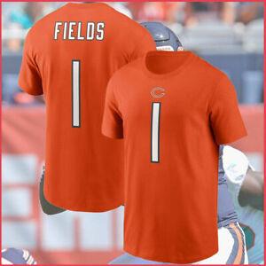 Justin Fields #1 Chicago Bears NFL Football T shirt Orange Gift Men Vintage Hot