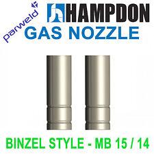MIG Nozzle / Shroud - MB15 -Cylindrical - Binzel Style- 2 Pack - Premium Parweld