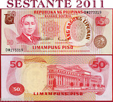 PHILIPPINES FILIPPINE 50 PISO 1970 Sign 8 Red sign. title - P 156b - FDS-/UNC-