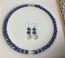 8MM Blue /White South Sea Shell Pearl necklace earrings set AAA Grade  V2