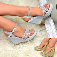 Ladies Sparkly Wedges High/Mid Heel Platform Ankle Strap Diamante Peep Toe Shoes