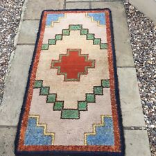 Vintage Retro Hand Made Hooky Rug