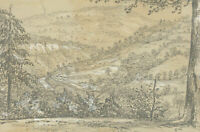 Mid 19th Century Graphite Drawing - Forest View
