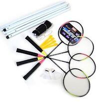 4 Player Outdoor Garden Badminton Rackets Net Post & Shuttlecocks Set Full Size