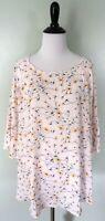 ANN TAYLOR LOFT White Pink Yellow Floral Spring Daisy Blouse Top Shirt Plus 16
