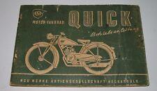 Betriebsanleitung NSU Motor - Fahrrad QUICK um 1949 Bedienungsanleitung!