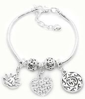 925 Sterling Silver Yoga Snake Chain Bracelet With Elegant Yoga Charms +GiftPkg
