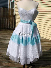 BETSEY JOHNSON RARE WHITE LACE & BLUE SILK PARTY PROM COCKTAIL DRESS~4 **Sale**