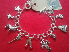 HAND MADE Wizard of Oz Inspired Silver link charm bracelet Ruby Slippers Dorothy
