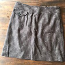 Banana Republic brown wool blend career skirt sz 2 lined side zipper wide waist