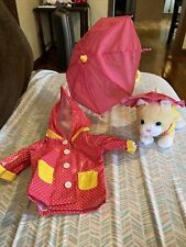 """My Life As Playing in the Rain Set for 18"""" Doll. Plush Cat w/raincoat & hat"""