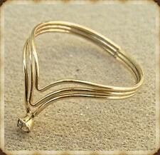 """Filled Ring with Crystal. Size 7 New Release. Triple Band """"V"""" Style Gold"""