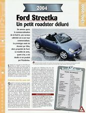 FICHE TECHNIQUE VOITURE FORD STREETKA 2004 VÉHICULE COLLECTION