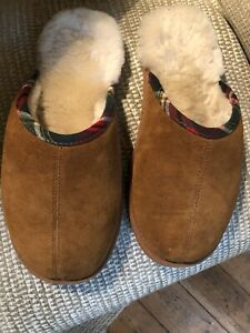 Mens Large Real Sheepskin Mule Slippers 12