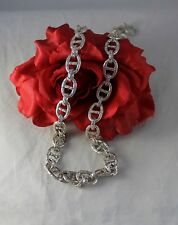 """Sterling Silver 127g Toggel Links Heavy 28.5""""   Necklace  Cat Rescue"""