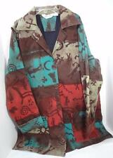 ORVIS red brown turquoise blue 100% cotton ethnic ecuador print jacket coat M