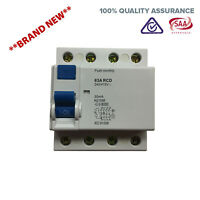 63 AMP 4 Pole RCD Residual Current Device Safety Switch Switchboard