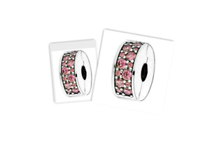 Genius Pandora Sterling SIlver 925 ALE Pink Pave Clip Charm TWO 791817pink