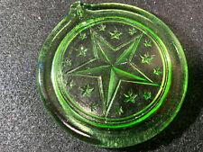 Green Vaseline uranium glass Star Christmas Tree ornament sun catcher X-mas art