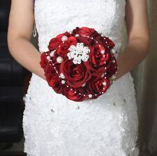HANDMADE Bridal Wedding Bouquet Flowers Crystal Red Rose Brooch decor