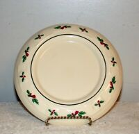 Longaberger Pottery Christmas candle base Woven Traditional Holly leaves berry