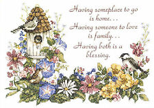Cross Stitch Kit ~ Dimensions Family Blessing Spring Garden & Birds #3160