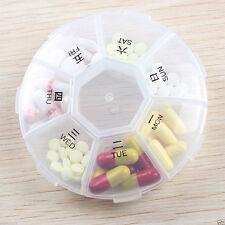 7 Jour Pilulier Semainier Boîte à Pilule Médicament Poche Rond Semaine voyage