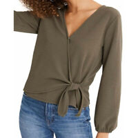 Madewell Women's Texture & Thread Crepe Wrap Top Kale Size XXS