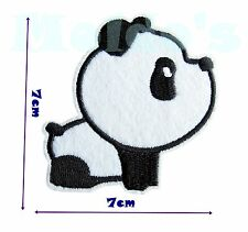Panda Cute Iron Patch Sew Applique Badge Embroidered Bear Animal Black White 30