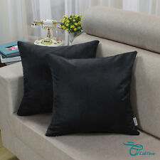 Pack of 2 Square Pillows Cases Cushion Covers Shells Heavy Faux Suede Black 45cm