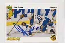 91/92 Upper Deck Ken Sutton Buffalo Sabres Autographed Hockey Card