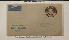 1936 Bloemfontein South Africa Airmail Hotel Majestic Cover To Athens Greece