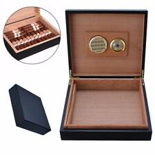Cigar Storage Case Box w/h Humidifier Hygrometer Wood Lined 235x215x63mm