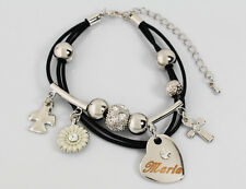 Genuine Braided Leather Charm Bracelet With Name - MARIA - Gifts for her