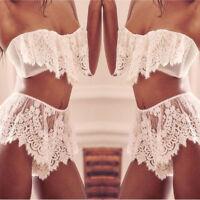 Women Lingerie Underwear Babydoll Casual Sleepwear Lace Bra Dress G-string Set