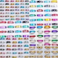 100pcs Wholesale Jewelry Lots of Bulk Mixed Coloured Style Aluminum Band Rings