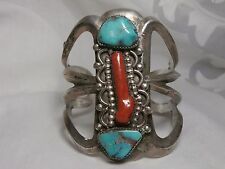 HEAVY ANTIQUE SOUTHWEST SOLID STERLING SILVER TURQUOISE CORAL CUFF BRACELET