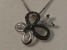Q53 Ladies 9ct white gold black diamond set butterfly pendant & chain necklace