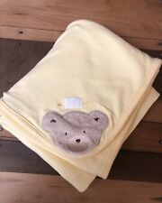 Carter's Baby Blanket Bear Face Yellow Stripped Cotton Knit Welcome to Family D1