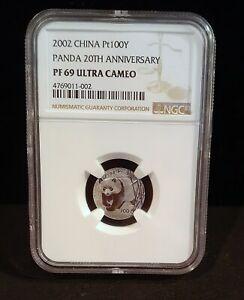 2002 China Pt 100Y NGC PF 69 Ultra Cameo - Panda 20th Anniversary - 002