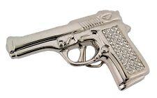 Men Women Belt Buckle Silver Metal Hand Gun Pistol Fashion Rhinestone Costume