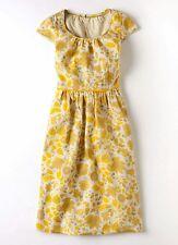 Boden yellow 100% linen 50s style summer dress 10