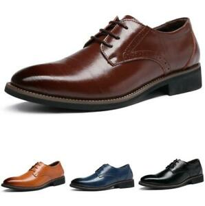 Brogue Mens Dress Formal Business Shoes Pointy Toe Work Office Lace up Oxfords L